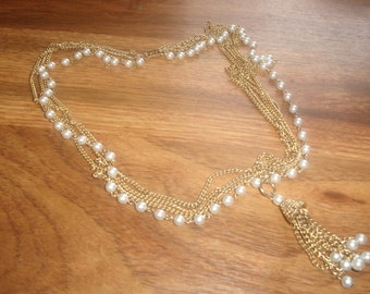 vintage necklace 5 strand goldtone chain faux pearls