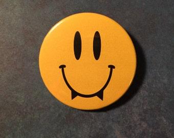 Smiley Face Vampire Pinback Button - 2.25 Inches