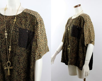 Vintage - 80s 90s - Black Leopard Print Abstract Ethnic Floral - Billowy - Shirt Top Blouse