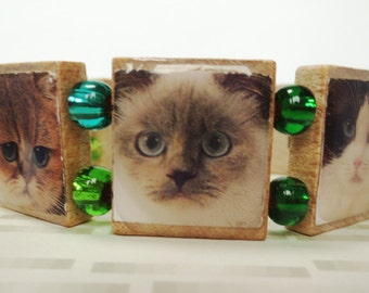 Crazy Cat Lady Scrabble Bracelet, with Cat Face Photos and Blue Green Beads
