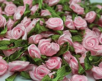 Pink Satin Ribbon roses w/leaves-12mm