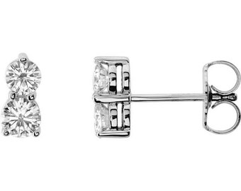 Forever Us Two Stone Diamond Studs .60CT Womens Earrings 14K White Gold