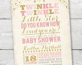 Twinkle Twinkle Little Star Baby Shower Invitation, PRINTABLE Twinkle Twinkle Little Star Baby Shower, ID: BS125911