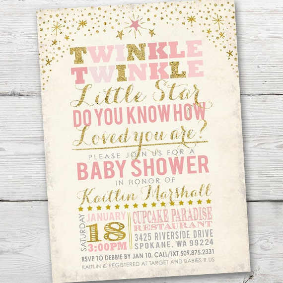 Twinkle Twinkle Little Star Baby Shower Invitations as amazing invitation design