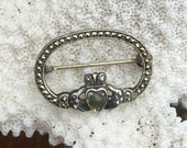 Vintage Sterling Silver Brooch Marcasite Irish Celtic Claddagh, Connemara marble