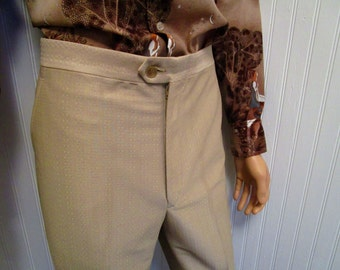 "70s ~ 32"" x 29"" Beltless Shiny Rayon Blend Knit Mens Flares PANTS Beige"
