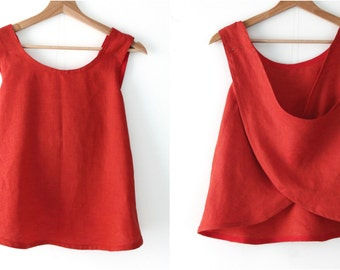 Linen top for women 100% linen color vermilion, crisscross back. Summer wear. Size S. Ready to ship.
