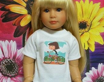 Fits 18 Inch Kidz 'n' Cats Girl .. White Short Sleeve T-Shirt-Bicycle .. D304