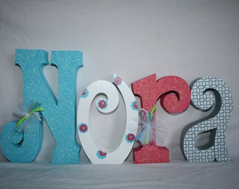 Baby girl name letters Wooden letters 15.00 per letter Freestanding wood letters Wooden name letters Nursery decor Hanging wood letters