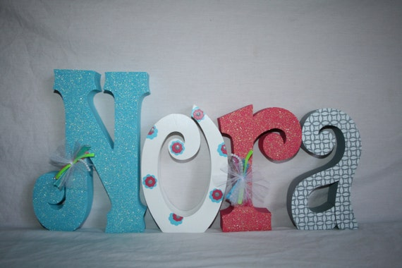 baby girl name letters wood letters 4 letter set freestanding wood letters
