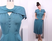 Vintage 1940's A Mademoiselle Juliette Day Dress • 40's Teal Rayon Dress • Size S/M