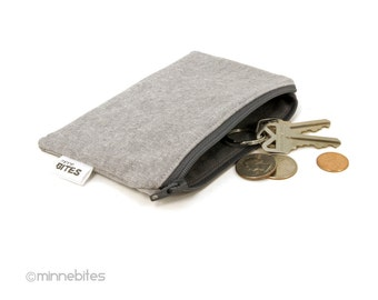 Men's Zip Pouch - Two Tone Grey Pouch - Card Case - Geeky Guys Wallet - Linen Zipper Coin Pouch - Ear Bud Case - Key Pouch - Ready to Ship