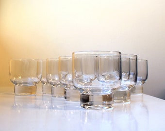 SALE Mid Century Modern Eva Zeisel Stockholm Glasses Rocks Old Fashioned Set of 8 Tumblers