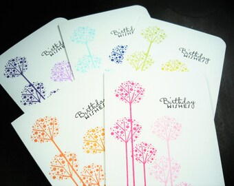 Birthday Cards Set of 5, Allium Flower Cards