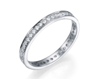 950 Platinum Ring , White Diamond Ring , Size 9 Full-Eternity Wedding Band Valentines Day Gift