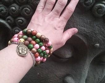Bohemiancolour ful wood beads 108 ps mala