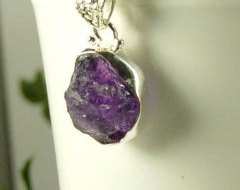 Raw Amethyst Pendant, Intense Purple, Chunky Amethyst, Sterling Silver, February Birthstone, Natural Amethyst, Raw Purple Amethyst