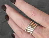 Silver stacking ring SET of seven rings, silver and gold stackable ring set, serendipity handcrafted women's jewellery