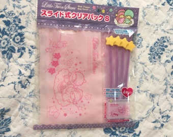 NEW 4 slider ziplock resealable plastic bags Sanrio Little Twin Stars