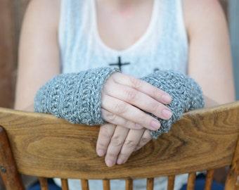 Light Grey Wrist Warmers Hand Warmers Fingerless Gloves