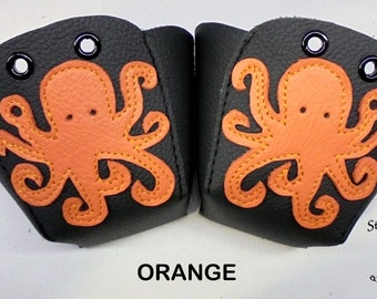 Black leather Roller Derby skate toe guards with Octopus
