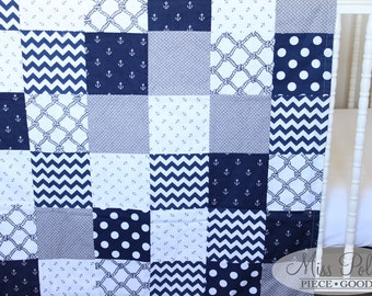Custom Baby Crib Bedding- Design Your Own Baby Bedding- Reversible Cotton Patchwork Baby Blanket