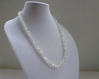 "Vintage Necklace AB Crystal Necklace Aurora Borealis Crystal Necklace 26"" Crystal Necklace"