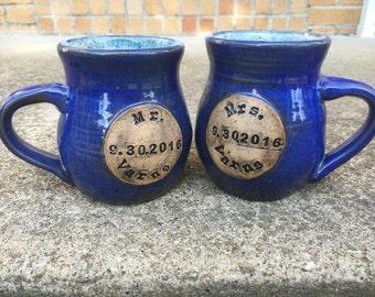 Custom Mr. and Mrs. Wedding or anniversary mugs
