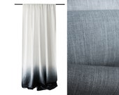 Ombrè linen curtain Grey fade to white Rod pocket unlined or blackout curtains
