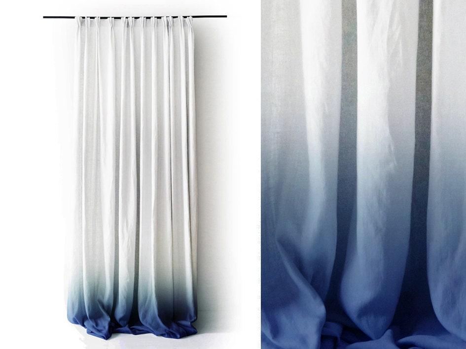 White Linen Curtain Ombrè Blue Pinch Pleat By LovelyHomeIdea