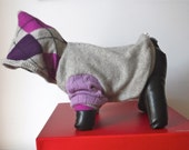 """SIZE XS, Cashmere Dog Hoodie, Grey and Purple Argyle, """"Luxe"""""""