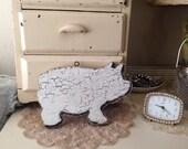 Reserved Vintage Wood Carnival Pig Sign Letter Sign Chippy Paint