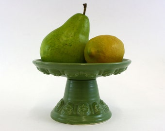 Vintage Green Hull Pottery Compote with Floral Details (E6664)