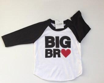 Big Brother Raglan Shirt, Big Bro Heart Shirt