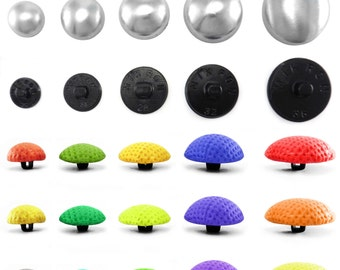 Domed Button blanks for cover buttons in various sizes with plastic backs