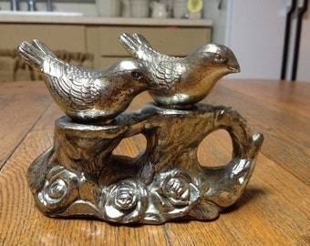 Pretty Vintage Silver Salt And Pepper Shakers On Silver Pedestal