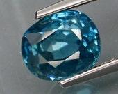 Deep Almost Paraiba Blue Zircon Faceted Cushion Cut 8 x 6 MM  2.47 Carat. Cambodia, Natural Gemstone