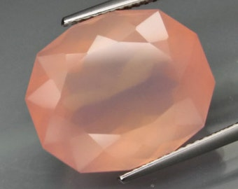 Velvety Deep Pink, Rose Quartz, Faceted Oval, 16.75 Carat, 18 x 15 MM , Natural, Untreated Gemstone