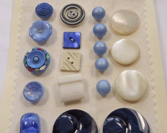 Vintage buttons - blue glass, mother of pearl, and plastic  (Ref R90)