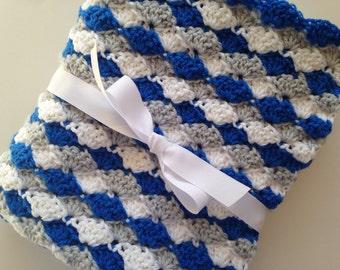 Crochet Baby Blanket Light Gray Navy Blue White Ripple Chevron