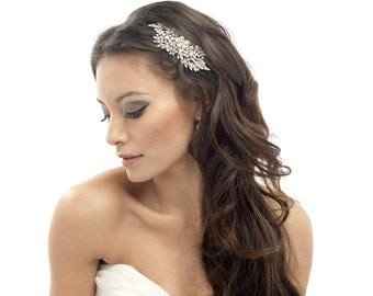 bridal hair comb, large bridal hair comb, pearl hair comb, ivory hair comb, bridal ivory headpiece, crystal hair comb, bridal crystal comb