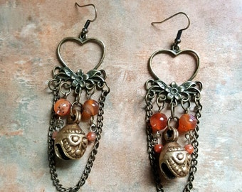 Beautiful Antique Bronze Bell Earrings With Carnelian Stones
