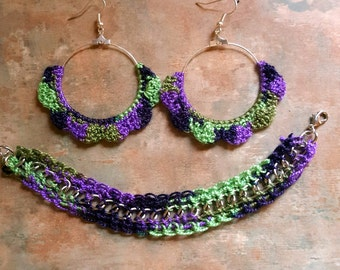 Beautiful Set of Crochet Hoop Earrings and Bracelet