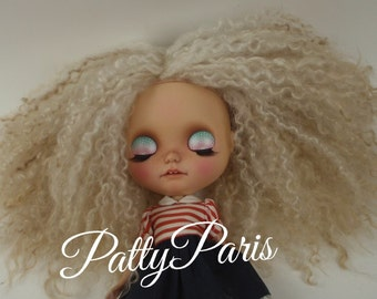 Ready to ship/PattyParis/Angora  hair/Reroot/Doll hair/Blythe scalp/ Blythe doll scalp/Hair doll/Mohair/Gray 2 tone 7 inches
