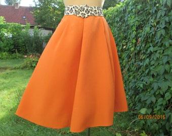 Full Skirt / Skirt Vintage / Full Skirt Orange / Size EUR 40 / 42 / UK12 / 14 / Knee Length Skirt