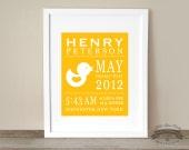 Baby Rubber Ducky, Statistics, Birth Details, Custom Art Print, Room Decor, 8x10 Print,
