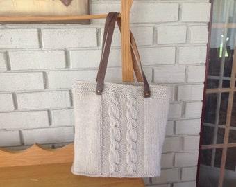 Cable Hand Knit Bag/Tote/medium sized shoulder bag/beige/off-white