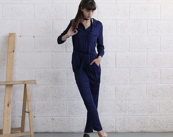 Button down  Overall, Blue overall