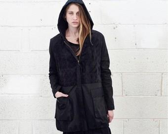 Faux Fur Panel Jacket, Black.