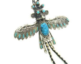 Southwestern Bolo Tie. Kachina Dancer Slide. Native American Style Thunderbird, Eagle. Imitation Turquoise. Vintage 1970s Statement Jewelry.